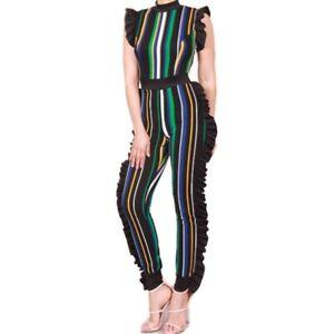 Xl Casual Bodycon Blue Teal Donna Ruffle Multi M Colour Stripe Sexy Jumpsuit L WO7gOnfqw4