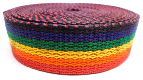 Gurtband €0,50//m PP Band Gurt 25 mm breit // 1.3 mm Regenbogen 10 Meter Rolle