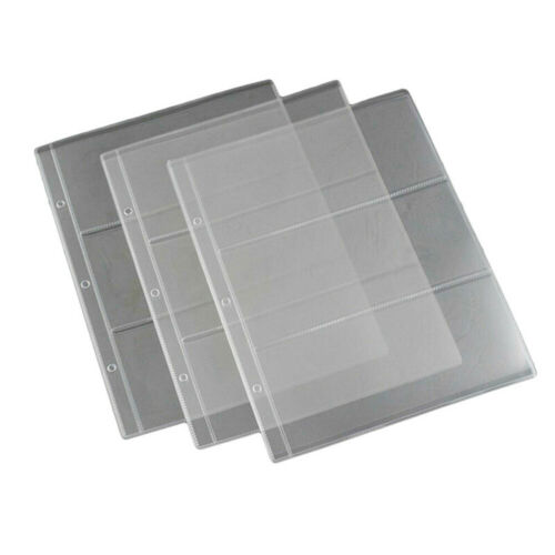 10 X BANKNOTE ALBUM REFILLS 3 POCKET A4 PLASTIC ARCHIVE STORAGE SLEEVES PAGE bnm