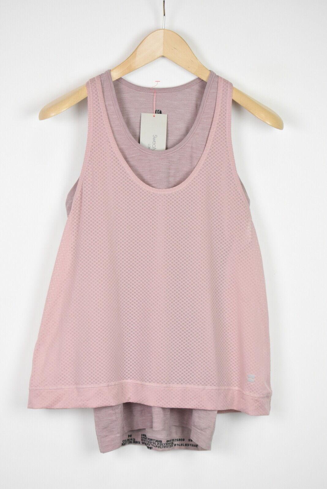 RRP SWEATY BETTY DOUBLE TIME 2 IN 1 Women MEDIUM Workout Vest Top 18512*