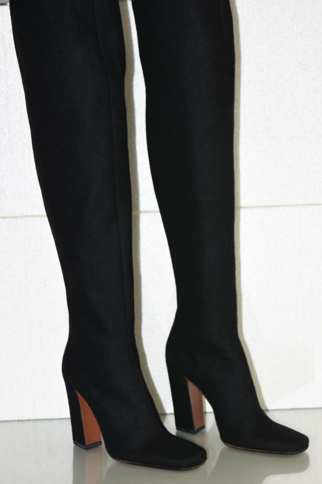 Nuevo Alaia sobre Rodilla Otk botas botas Otk Altas Negro Cachemira Zapatos de Cuero 36.5 369631