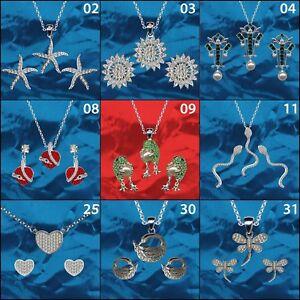 Luxus-Anhaenger-Ohrringe-Kette-925-Silber-Zirkonia-Sonne-Herz-Seestern-Frosch