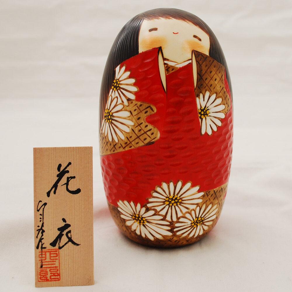 Japanese Kokeshi Doll - Handmade in Japan - HanakGoldmo - Flower Kleid - rot