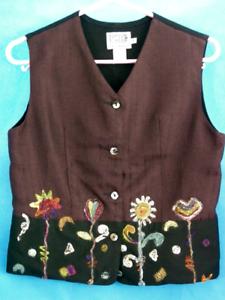 Violet Taille Brodé Coton Femme Violet Rayonne 10 8 Gilet Pong Ltd Poco Floral p1CAq
