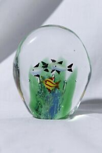 Murano-Hand-Blown-Art-Glass-Fish-Bowl-Aquarium-Paperweight