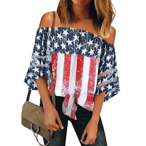Le Donne Bandiera Americana Off spalla Mesh pannello Camicetta 3//4 Bell Manica Top Shirt DZ
