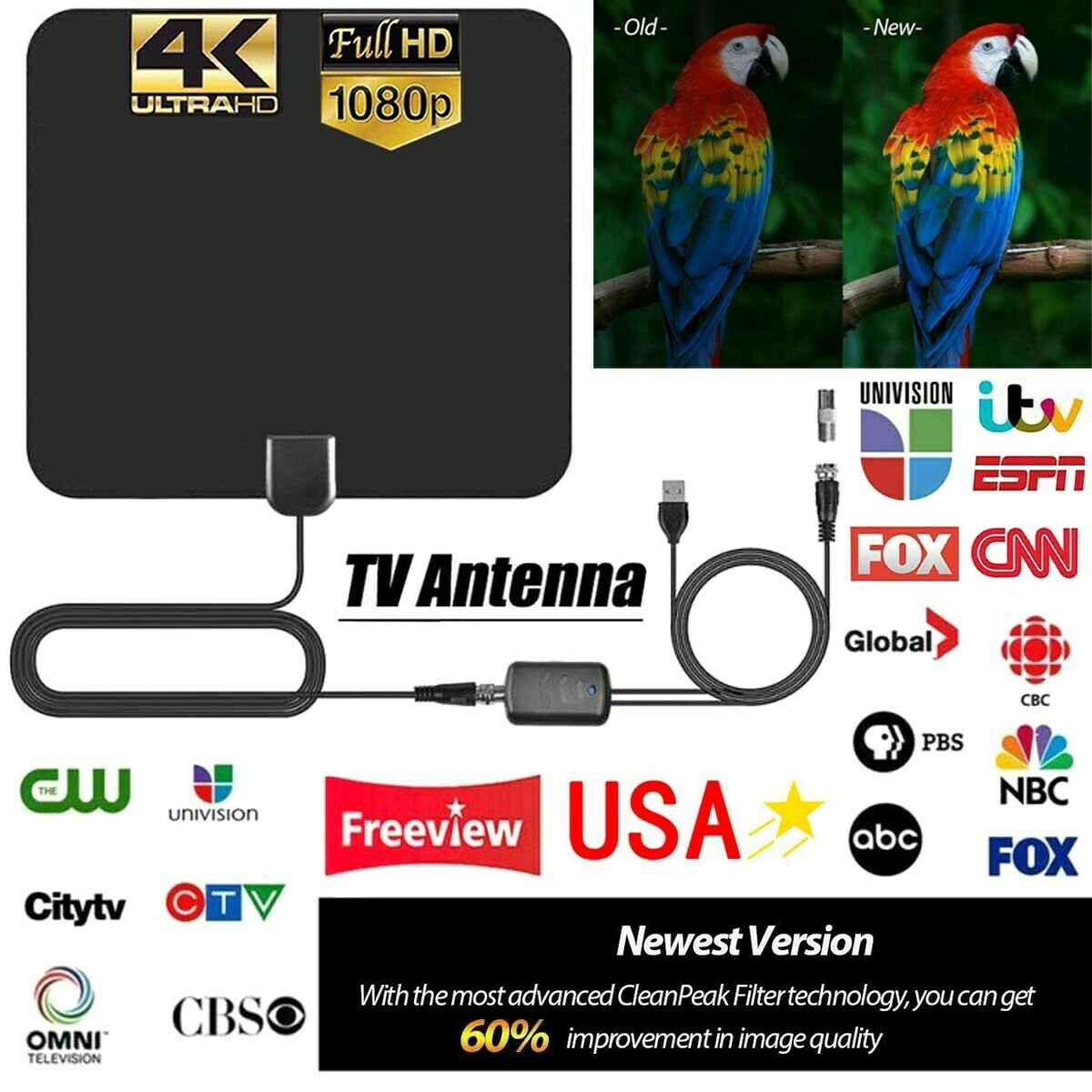 5600 Miles Range TV Antenna Digital HD Antena Indoor HDTV 1080P 4K 13ft Cable US. Available Now for 19.99