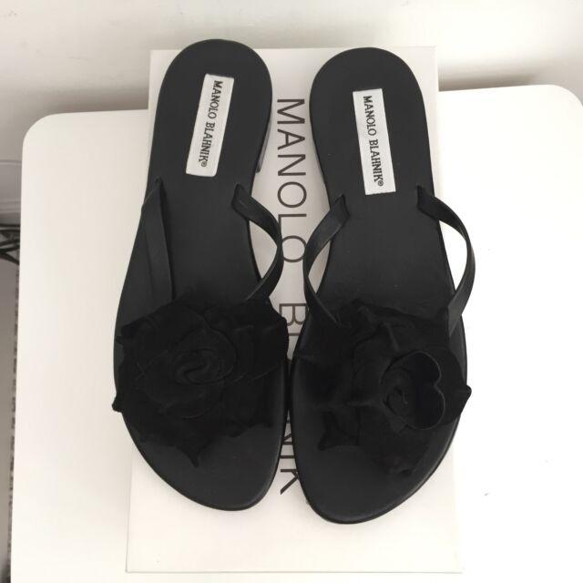 20f71f50a19e4 NEW MANOLO BLAHNIK Patricia BLACK Suede Floral Thong Sandals Flip Flops SZ  37.5