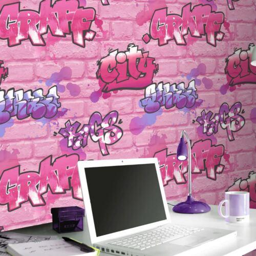 Rasch Graffiti Pink Brick Glitter Textured Urban Modern Wallpaper