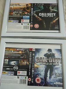 CompéTent Call Of Duty World At War & Black Ops Ps3 Manches Mural Encadrée-afficher Le Titre D'origine