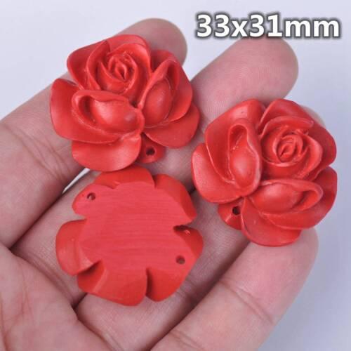 5pcs 30mm-33mm Beautiful Hand Carved Red Cinnabar Rose Flower Pendant Bead