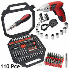 Rechargeable Cordless Electric Driver Tool & 110 Pce Screwdriver Bits Socket Set