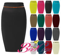 NEW WOMEN LADIES PONTE PLAIN BELTED MIDI PENCIL SKIRT OFFICE SKIRT STRETCH 8-14