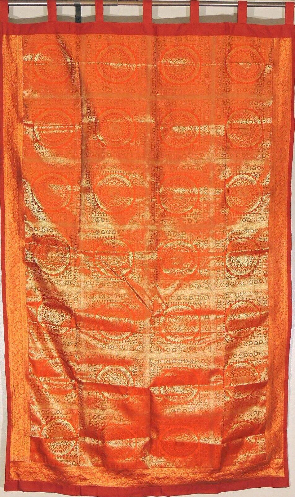 Cortina naranja Mandala-Designer Elegante Brillante Brocade Ventana Panel 82