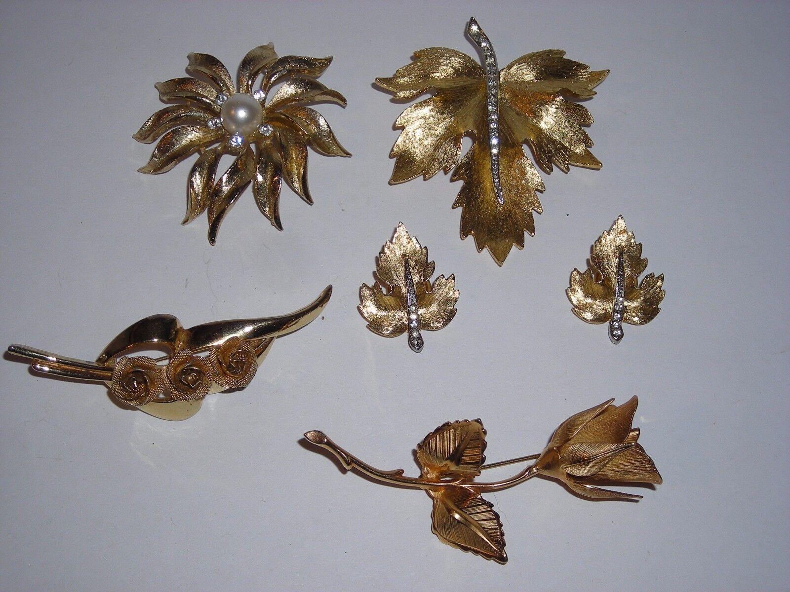 Vintage Park Lane goldtone Maple Leaf Rhinestone Brooch & Earrings Plus 3 others