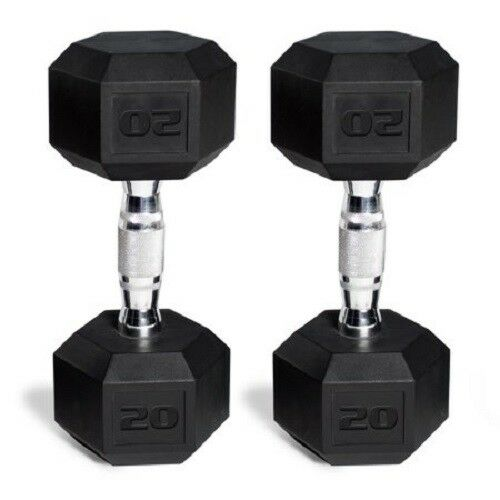 Dumbbell Set 20 lb PAIR Cast Iron Hand Weight Workout  Lifting Fitness Exercise