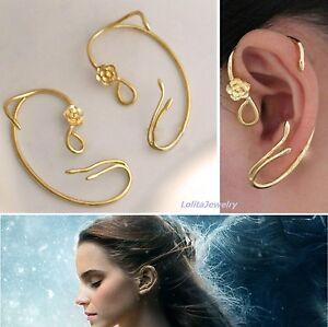Disney-BEAUTY-and-the-BEAST-BELLE-Belle-039-s-ROSE-EARRINGs-Ear-Cuff-Cosplay-NIB