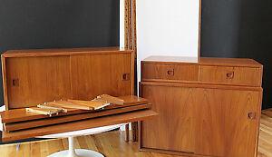 Details about Danish Modern 60's 15 piece Teak Modular Wall  Cabinet/Shelving System ala Cado