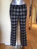 Oui Trousers Size 12 Black Cream Check Rrp £129 Now £45