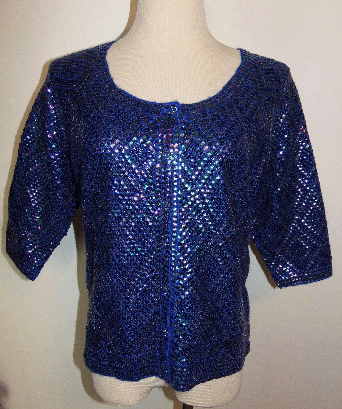 New Free People Sweater Small Wool Button Cardigan Irridescent bluee Sequin Top