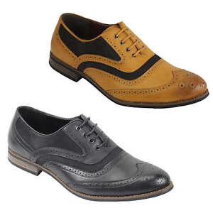 Mens-Retro-Vintage-Wing-Tip-Leather-Brogue-Smart-Casual-Office-Shoes-UK-Sizes