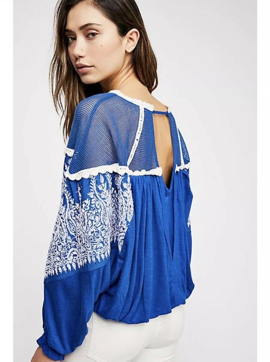 567df1beb36 Free People Women M Carly Top Sheer Embroidered Bohemian Dolman Sleeves NWT  128