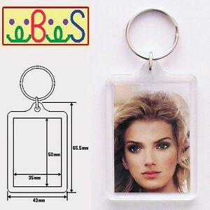 8x Blank Acrylic Keyrings 59x43mm Frame & 50x35mm Photo key ring plastic 92033