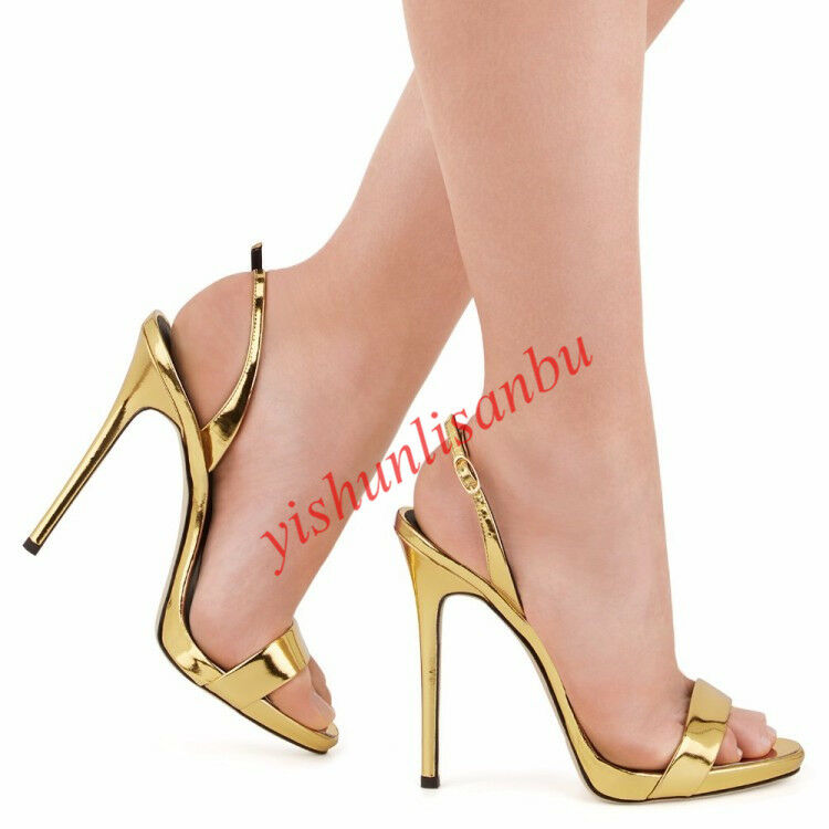 Sexy Women Summer Shiny Leather Open Toe High Heels Sandals Buckle shoes Sandals