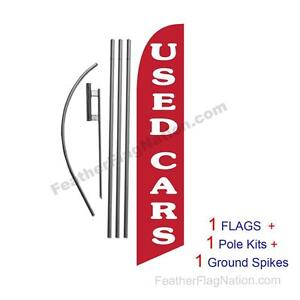 Used Cars (dark red) 15' Feather Banner Swooper Flag Kit with pole+spike
