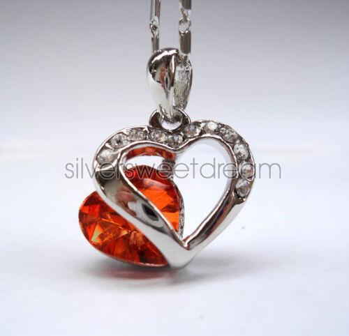 S.Valentino 2019 Collana cuore acciaio brillanti cristalli ciondolo pendente