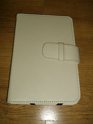 UNBRANDED ~ CREAM FAKE LEATHER TABLET COVER ~ HARD COVER