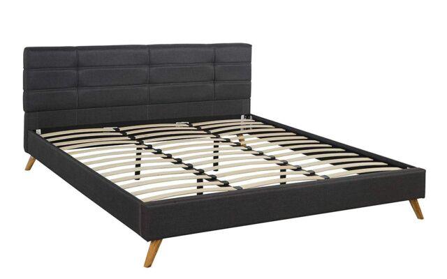 Mid Century Linen Platform Bed Frame Low Profile Wood Slats Dark Grey Queen
