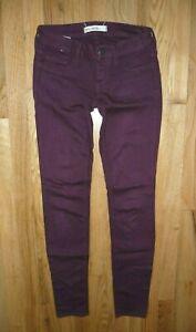 Bullhead-Black-Designer-Purple-Low-rise-Skinny-Denim-Legging-Pants-Size-0-Womens