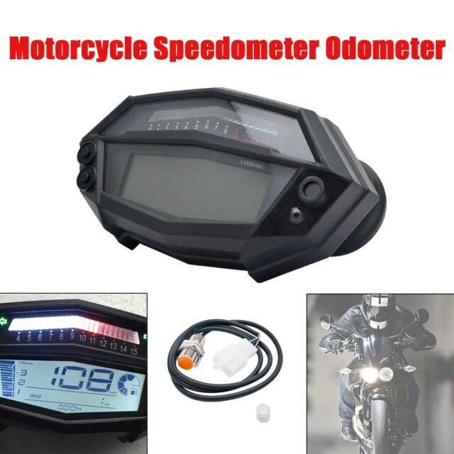 Adjustable Speed LCD Digital Motorcycle Speedometer Odometer Tachometer Gauge
