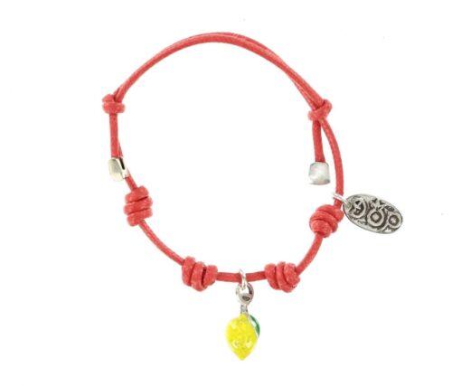 GIOIELLI DOP Lemon Sterling Silver /& Enamel Tie Cord Bracelet 133261