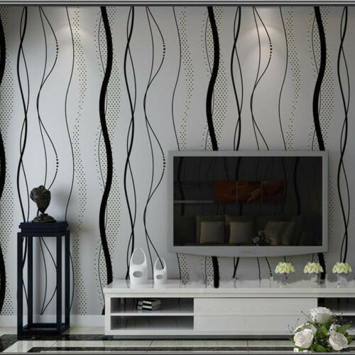 Modern Luxury Abstract Curve Stripe 3D Wallpapers Roll Flocking Wall Paper Rolls