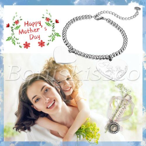 Free Engraving Stainless Steel Polish Heart Pendant Bracelet Mother/'s Day Gift
