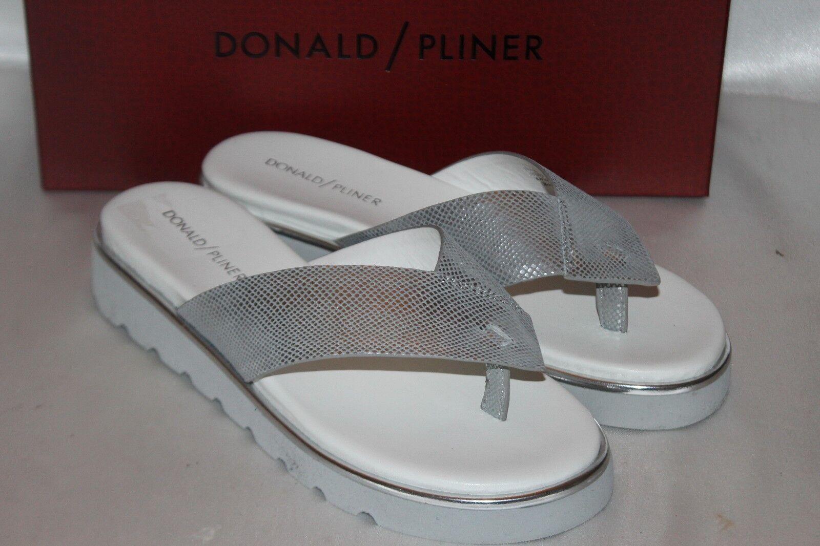 NEW  Donald J Pliner VIPERINA Silver Leather Flip Flop Thong Wedge Sandal  178