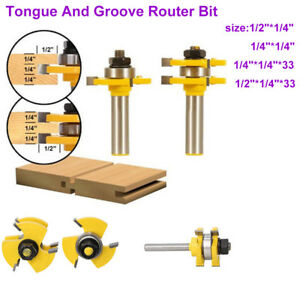 "Tongue and Groove Router Bit Set 1//4/'/' 1//2/"" Shank T-type3-tooth Useful"