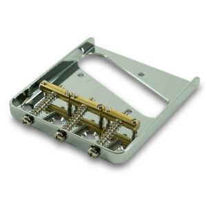 Kluson Chrome Steel Bridge w Brass compensated saddles Fits Fender Telecaster