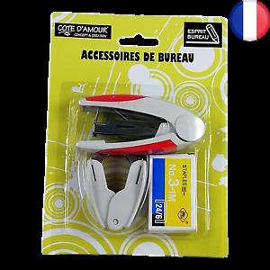 Lot 5X Kit Agrafeuse + Boîte d'agrafes + Ote-agrafe - Lot Accessoires de bureau