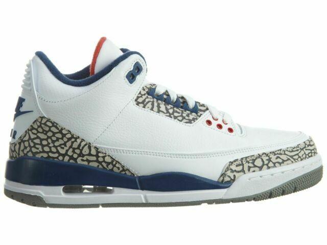 Nike Air Jordan 3 Retro OG Basketball Shoes for Men, Size US 8 - White/Fire Red/True Blue