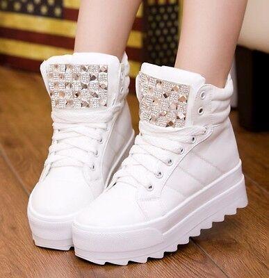 Womens Ladies Lace Up Diamante Velcro Platform Hi Top Trainer Sneakers Shoes