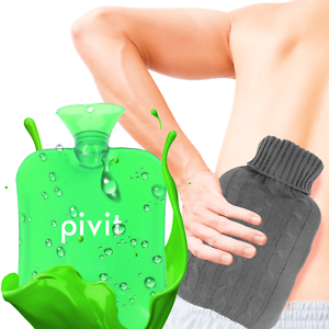 Hot Water Bottle With Cover PVC Ice Bag Warm Relaxing Heat Cold Therapy - Green