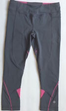 LULULEMON RUN EMPOWER CROP PANTS Gray with Paris Pink size 4 EUC Running Spin
