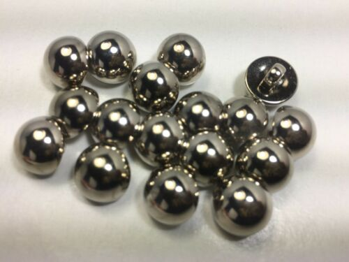 New 10 Electroplated Plastic Silver Domed Buttons Sizes 5//16,3//8,7//16 inch #12