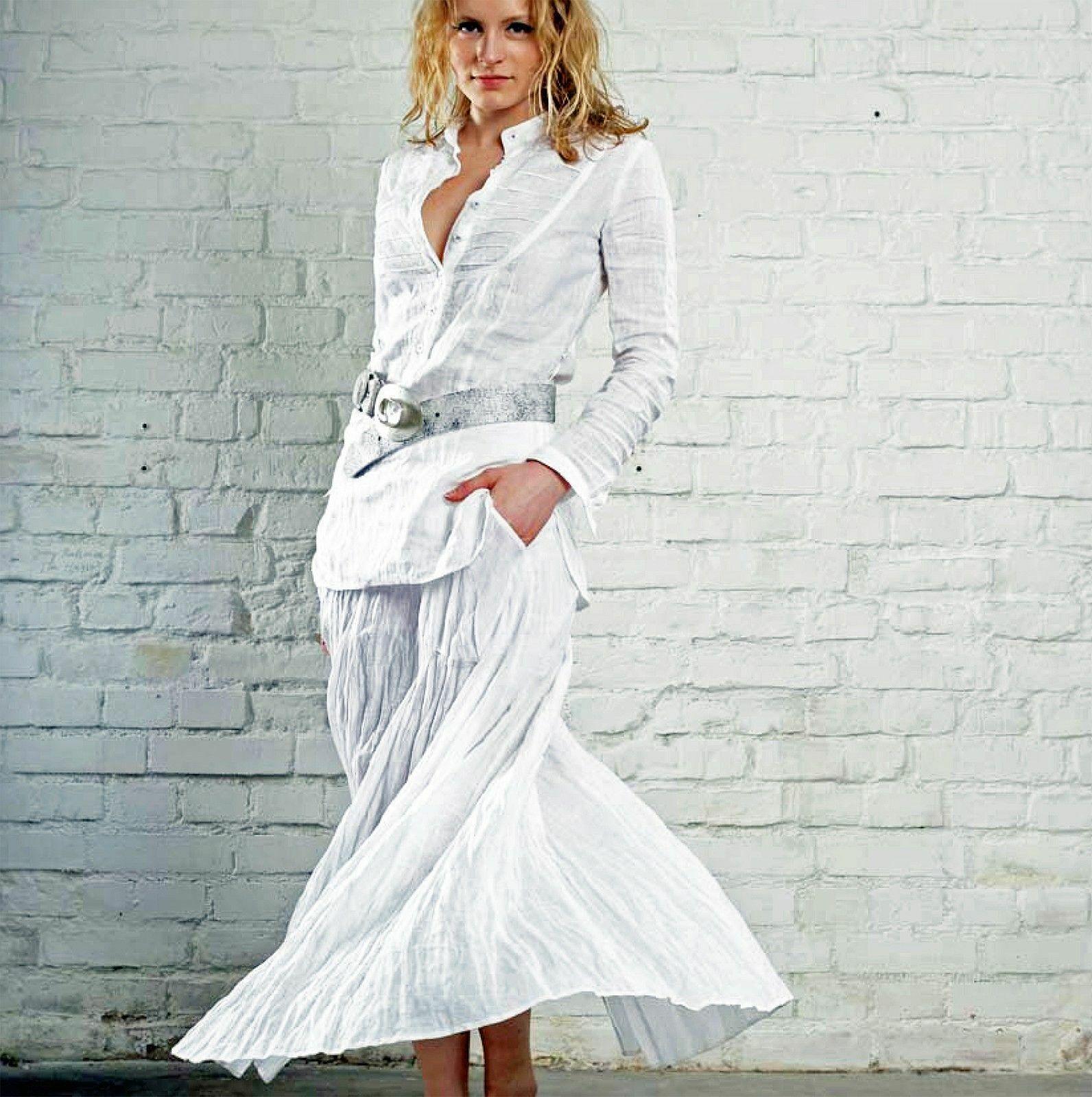 White linen skirt size 14