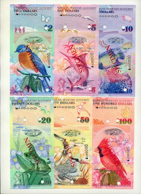 BERMUDA 2-5-10-20-50-100 Dollars 2009 CS3 SPECIMEN set UNC Rare!!!