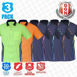 3x-HI-VIS-POLO-Shirts-NEW-PIPING-PANEL-WORK-WEAR-COOL-DRY-SHORT-SLEEVE