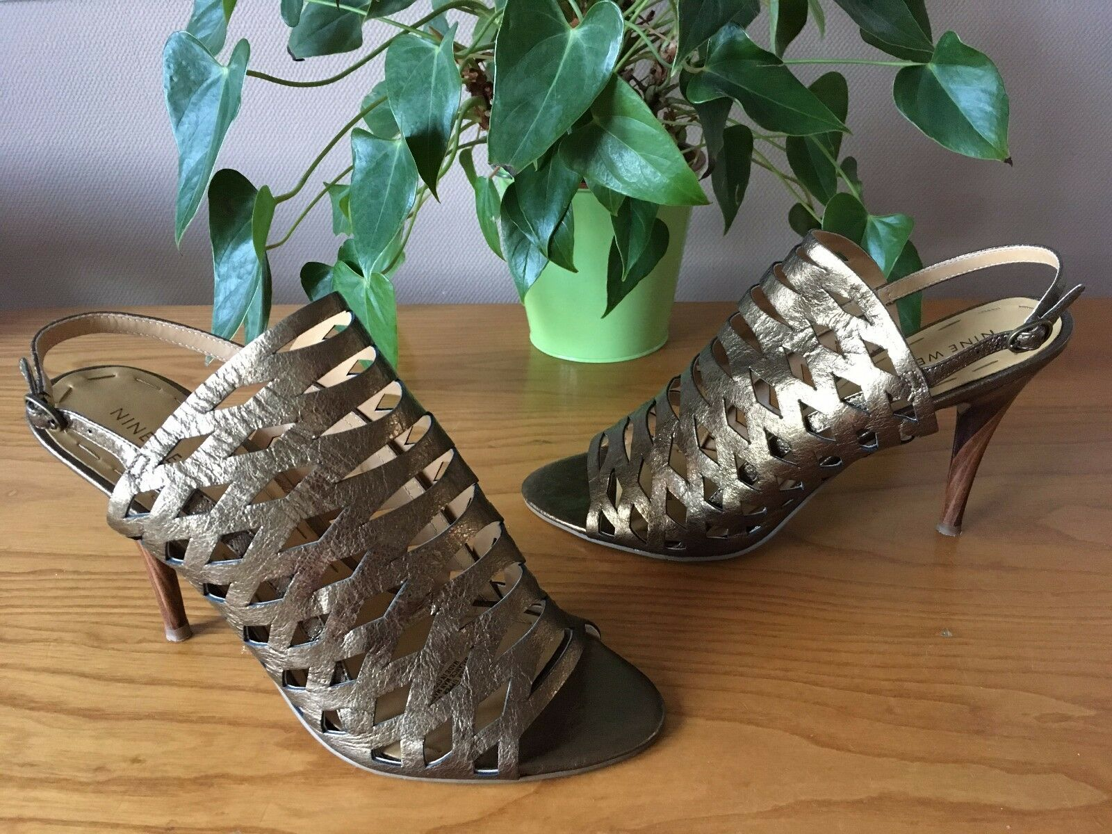 Nine West Gold leather gladiator style strappy open toe toe toe stiletto schuhe UK 8 EU 41 72bfd6